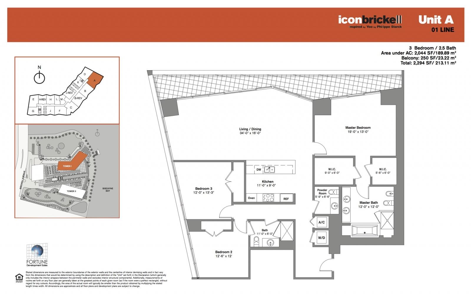 Icon Brickell One Line 1 floor plan