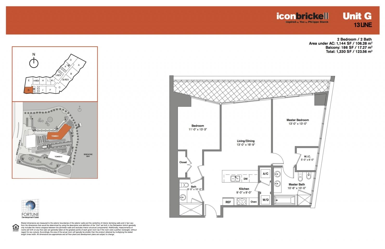 Icon Brickell One, line 13 floor plans