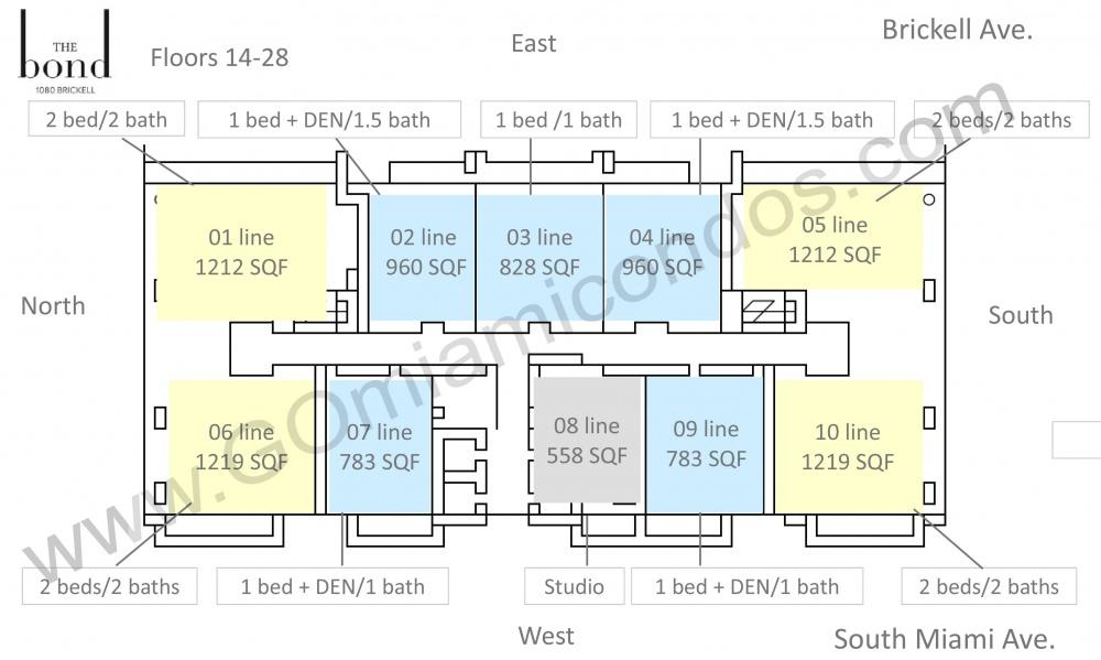the Bond Condo Units 14-28 Floor Distribution Floor Plans