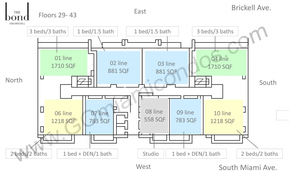 the Bond Condo Units 29-43 Floor Distribution Floor Plans