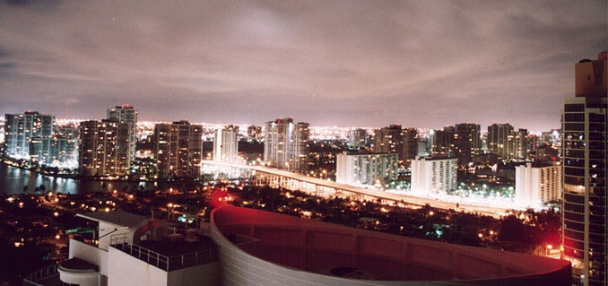 aventura at night