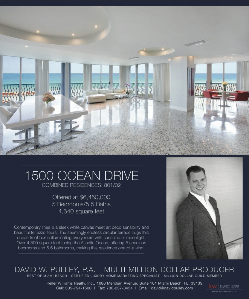 David's Beautiful Listing featured in Ocean Drive Magazine